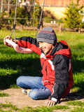 Active child boy at playground Royalty Free Stock Images