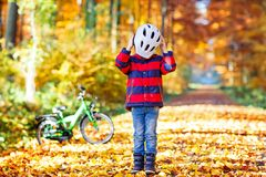 Active child putting safe helmet before cycling on sunny fall day in nature. Royalty Free Stock Photo