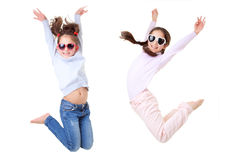 Active children jumping. Active children playing and jumping Royalty Free Stock Photography