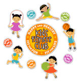 Active children playing sports sticker set Royalty Free Stock Photography