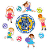 Active children playing sports sticker set Royalty Free Stock Images