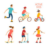 Active children riding and playing outdoor Stock Photography