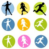 Active Children Silhouettes. An illustration featuring an assortment of active children silhouettes including boys and girls running in different styles and Royalty Free Stock Images