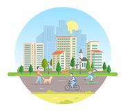 Active citizens - modern vector illustration in a round frame. Lovely city on white background with a road, church, lanterns, bench, buildings, trees. People Stock Images