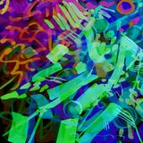 Multicolored neon background of strokes, scribbles. Active club neon background for fading and a party for electric music royalty free illustration