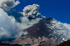 Active Cotopaxi volcano erupting. Breathtaking scene of active Cotopaxi volcano erupting in Ecuador, South America Stock Photos