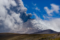 Active Cotopaxi volcano erupting. Breathtaking scene of active Cotopaxi volcano erupting in Ecuador, South America Royalty Free Stock Photography