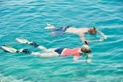 Active couple snorkeling at red sea Royalty Free Stock Images