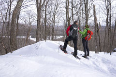 Active Couple on Snowshoes Stock Image