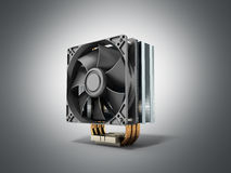 Active CPU cooler with the aluminum finned heat-sink and the fan Stock Photo