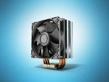 Active CPU cooler with the aluminum finned heat-sink and the fan Royalty Free Stock Image