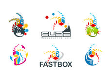 Active cube logo, speed box symbol, fast destination concept design Royalty Free Stock Photo