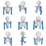 Active 3D man exercising on outdoor fitnes trainer machine Royalty Free Stock Photography