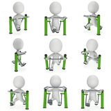 Active 3D man exercising on outdoor fitnes trainer machine. Set. Fit sporty man working out at outdoor gym collection. Sport fitness and healthy lifestyle Stock Photo