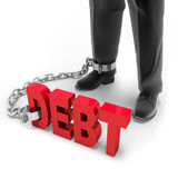 Active debt. The debt attached to the leg on white background Royalty Free Stock Photography