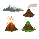 Active, dormant volcano, mountain, set of Stock Image