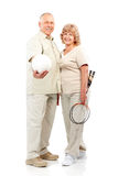 Active elderly couple. Isolated over white backfround stock photos