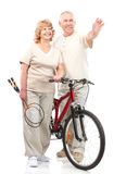 Active elderly couple. Isolated over white backfround royalty free stock photo