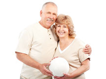 Active elderly couple. Isolated over white backfround stock image