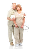 Active elderly couple. Isolated over white background royalty free stock photo