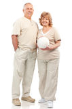 Active elderly couple. Isolated over white background stock photography
