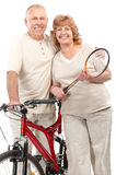 Active elderly couple. Isolated over white background royalty free stock image
