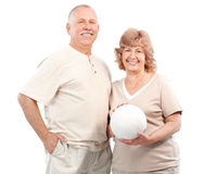 Active elderly couple. Isolated over white background stock photo