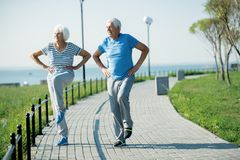 Active Elderly Couple. Full length portrait of active senior couple doing fitness exercises standing on running track outdoors in sunlight looking happy, copy stock image