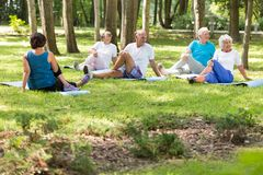 Active elderly people doing yoga. In a city park royalty free stock photography