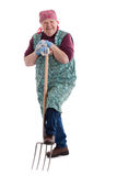Active elderly woman holding pitchfork 3. A lusty female senior with pitchfork looks to viewer 3 royalty free stock image