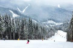 Active en el esquí del invierno foto de archivo