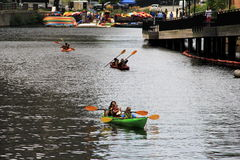 Active families kayaking on the Charles River, Cambridge Mass,Summertime,2013 Royalty Free Stock Image