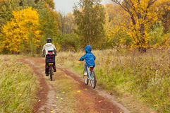 Active family on bikes, cycling outdoors, golden autumn in park Stock Image