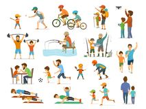 Active family father and son collection, man and boy playing american  football, soccer ball, flying drone, riding bike fishing ex. Ercising with barbell in gym Royalty Free Stock Photo