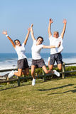 Active family jumping Stock Photos