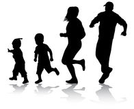 Active family silhouettes Stock Images