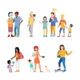 Active family urban young people parents parenting Stock Photos