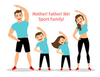 Active family vector illustration. Sport lifestyle parents and children exercising  on white background Stock Image