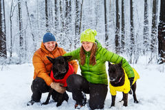 Active family walk the dog in the winter forest. Stock Photos