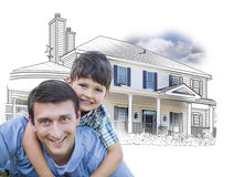 Active Father and Son Over House Drawing and Photo on White Royalty Free Stock Photography