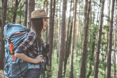 Active female hiker is enjoying time outdoors stock photography