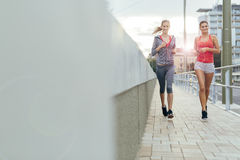 Active female joggers running outdoors Royalty Free Stock Photo