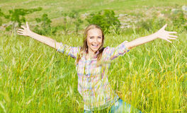 Active female over nature landscape Stock Photos