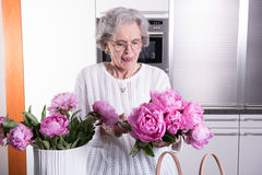 Active female pensioner is preparing flowers for the vase Royalty Free Stock Image