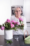 Active female pensioner is preparing flowers for the vase Royalty Free Stock Photos