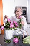 Active female pensioner is smelling flowers Royalty Free Stock Images