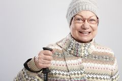 Active female pensioner smiling Royalty Free Stock Image