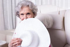 Active female senior is waiting to go out Royalty Free Stock Images