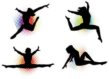 Active Female Silhouettes Stock Photos
