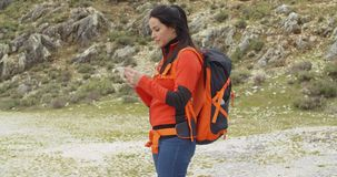 Active fit young hiker checking her route stock footage